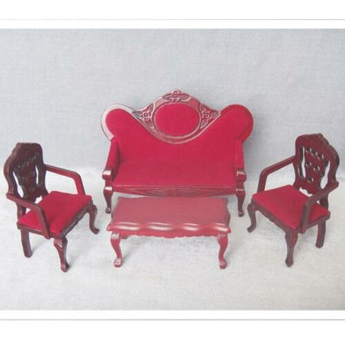 1//12 Dolls House Miniature Furniture Living Room Sofa Couch Chair Lamp Set