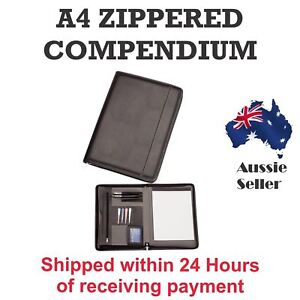 1 x New A4 Black Zippered Compendium Leather style Fast delivery Aust Wide