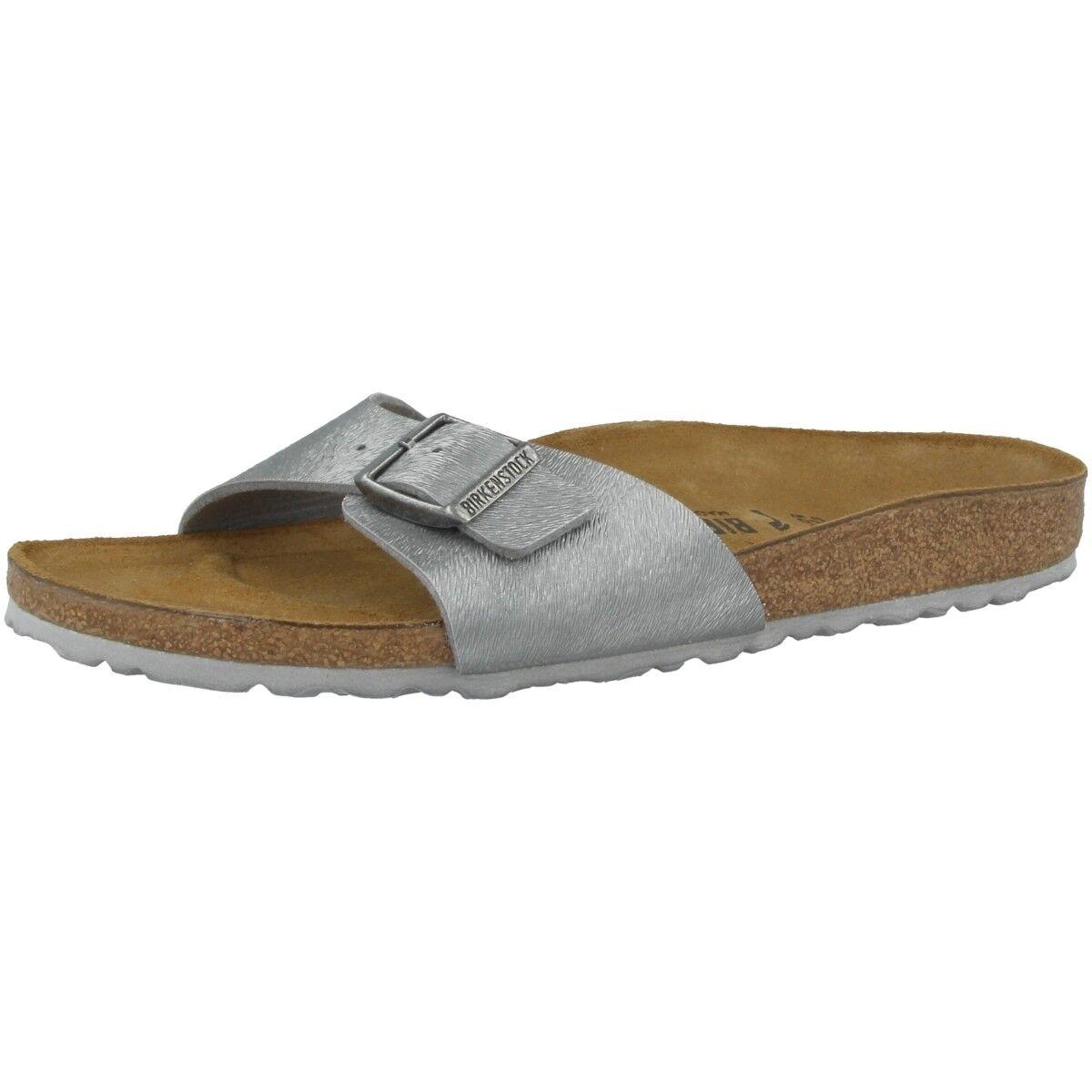 Birkenstock Madrid Birko-Flor Schuhe Pantolette animal gray Weite schmal 1008638