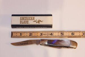 Vintage-1980-Taylor-Cutlery-Japan-Elk-Horn-MOP-Mother-of-Pearl-Lockback-Knife-NM