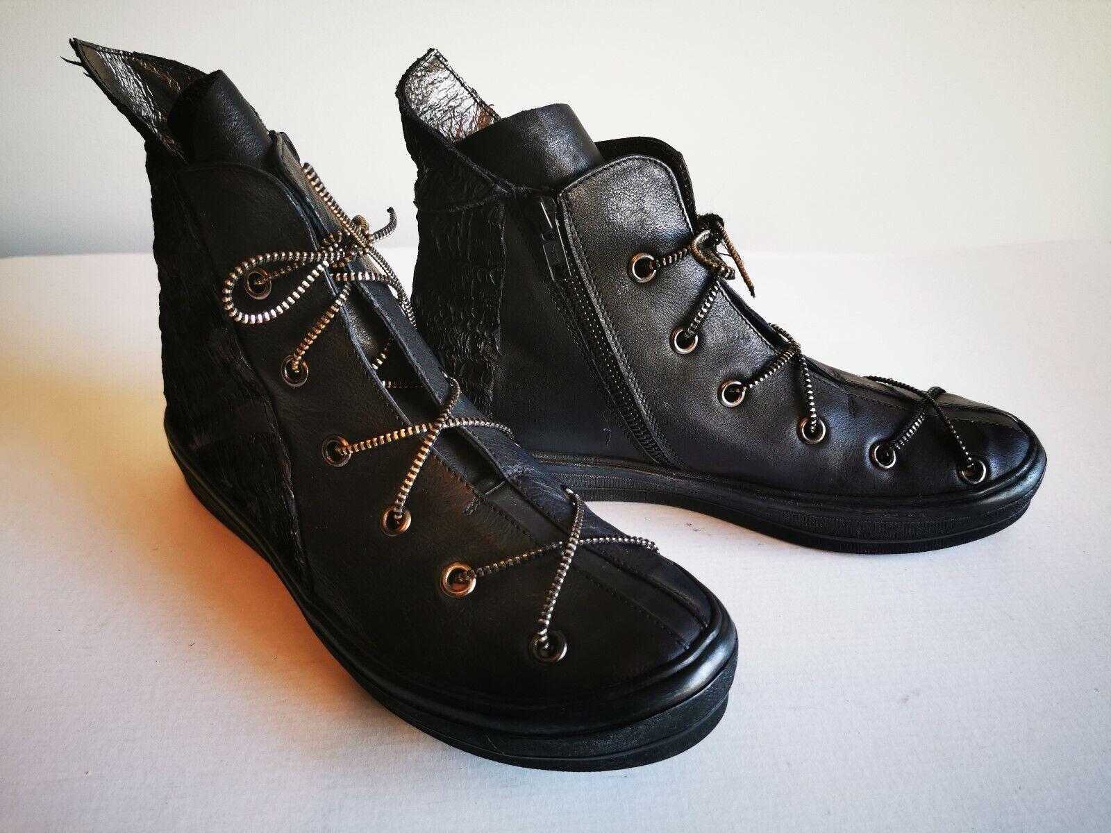 ! novedad! rareza! papucei sueño negro cuero genuino botines, talla 39