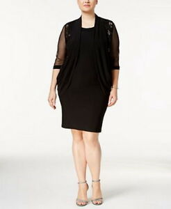 R/&M Richards Women/'s Plus Size Embellished Lace-Trim Shrug Jacket