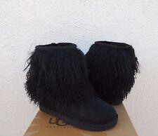 UGG BLACK LONG MONGOLIAN SHEEPSKIN CUFF BOOTS, WOMENS US 11/ EUR 42  ~NIB