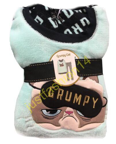 Primark Grumpy Cat Print Cosy Pyjamas T-shirt Leggings Panties Socks