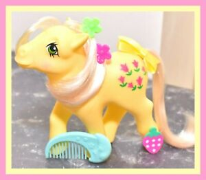 My-Little-Pony-MLP-G1-Vtg-1984-Posey-Original-BRUSH-Magenta-Pink-Tulips-EURO