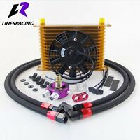 Universal 15 Row Engine Oil Cooler + Oil Lines Adapter Kit + 7″ Electric Fan
