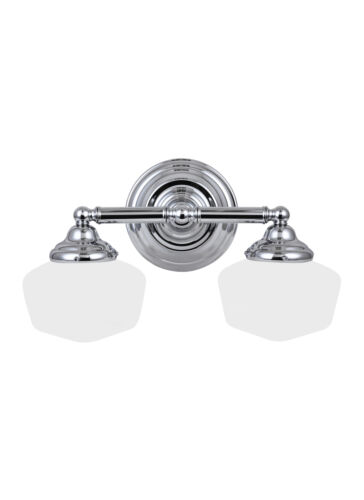 Sea Gull Lighting 44437-05 Bath Vanity with White Schoolhouse Glass Shades
