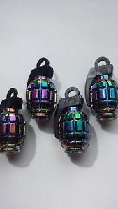 Neo-Chrome-Colourful-Grenade-Car-Van-Bike-Wheel-Tyre-Valve-Metal-Dust-Caps-x-4