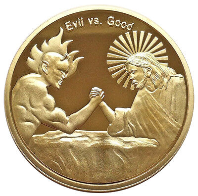 Evil VS Good Silver Plated Commemorative Coin Collection Gifts Challenge CoinTB