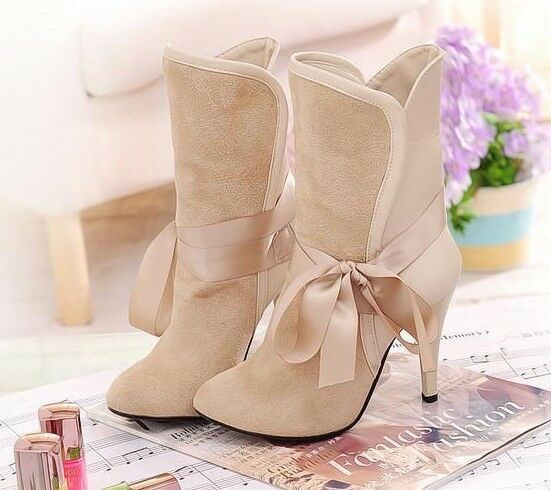 Bottes chaussures pour femmes beige nœud ruban talon 9 cm comme cuir confortable
