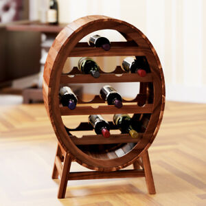Wine Rack Barrel Free Standing 12 Bottle Holder Wooden Wine Acacia