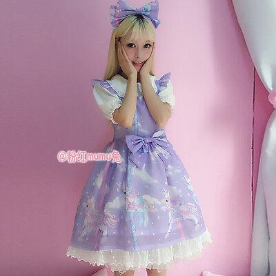Japanese Harajuku Sweet Lolita Unicorn Print Bow Vintage Princess Fairy Dress