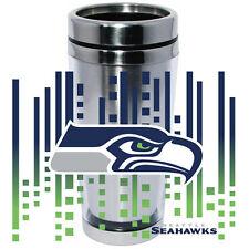Seattle Seahawks Logo Travel Mug Tumbler Stainless Steel NEW Clear Insert