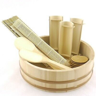 "BambooImportsMN 12"" Sushi Oke Tub (Hangiri) 19pc Sushi Making Pack"