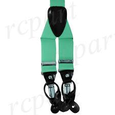 New in box Men's Suspender braces Aqua Green elastic clips buttons casual
