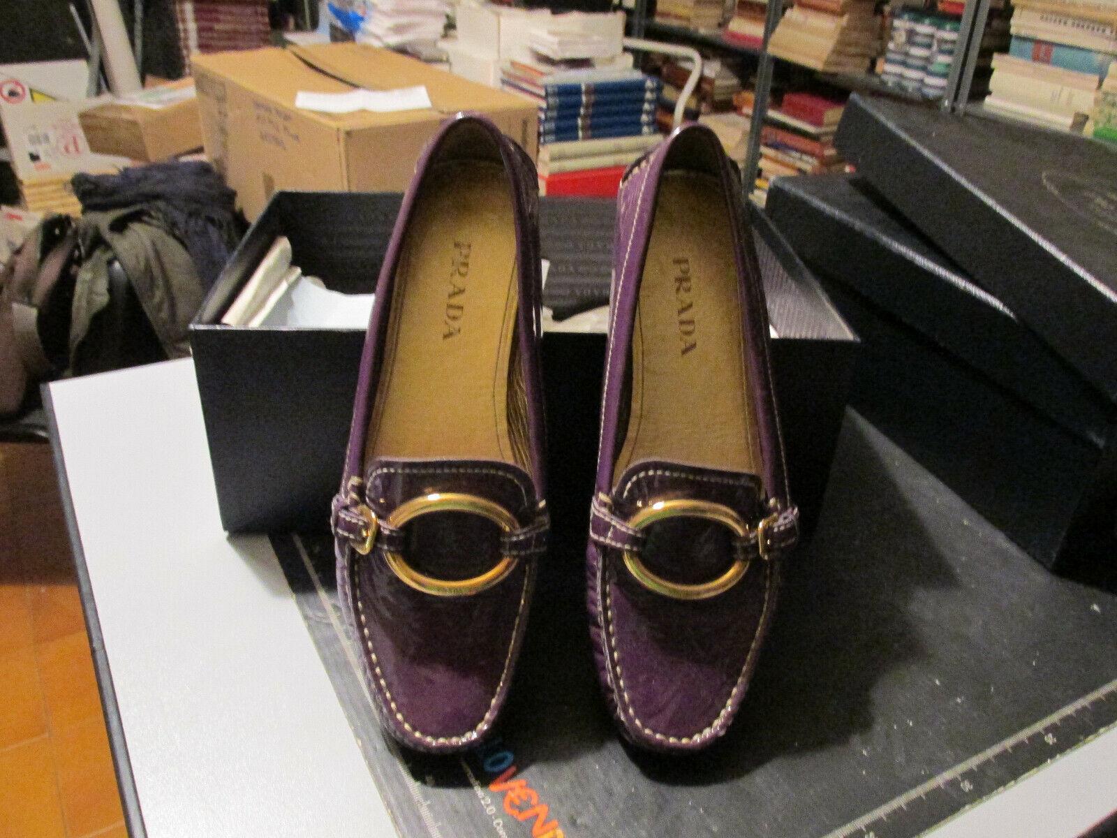 Prada púrpura in pelle da Infilare Mocassino zapatos numero 37 mujer ottimo