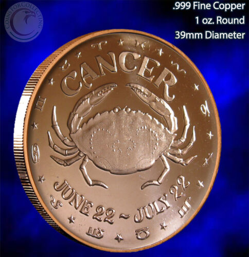 """/""""Cancer/"""" 1 oz .999 Copper Round Part of the Horoscope Series"""