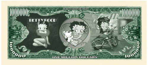 Help TOYS FOR TOTS give a child a TOY Buy a Betty Boop ONE MILLION DOLLAR BILL.