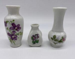 Vintage Miniature White Ceramic Bud Vases Flowers Floral Design Set of 3