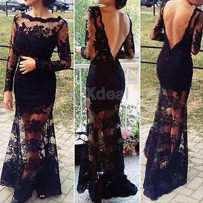Sexy Women Lace Bodycon Backless Maxi Prom Cocktail Evening Gown Party Dress