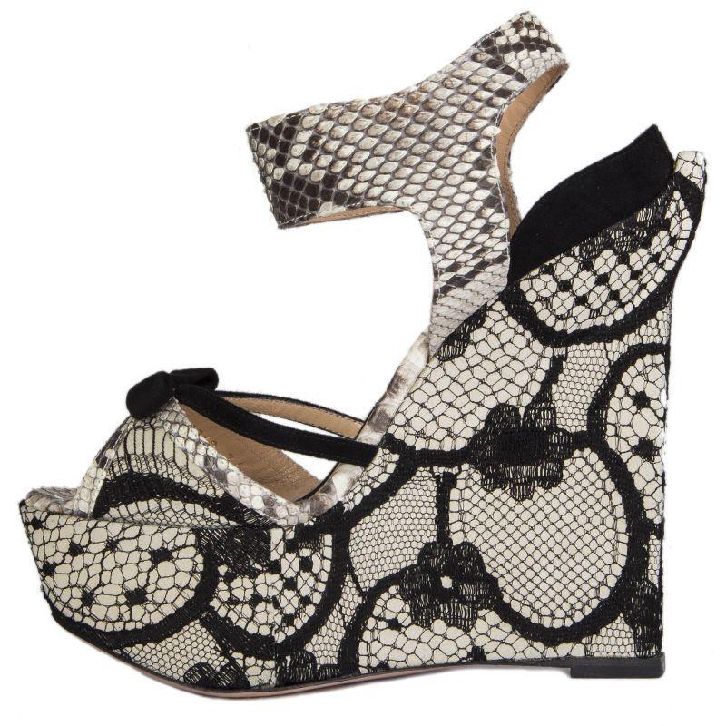 54777 auth ALESSANDRO DELL'ACQUA DELL'ACQUA DELL'ACQUA grigio suede & nero LACE Wedge Sandals scarpe 36 6b510d