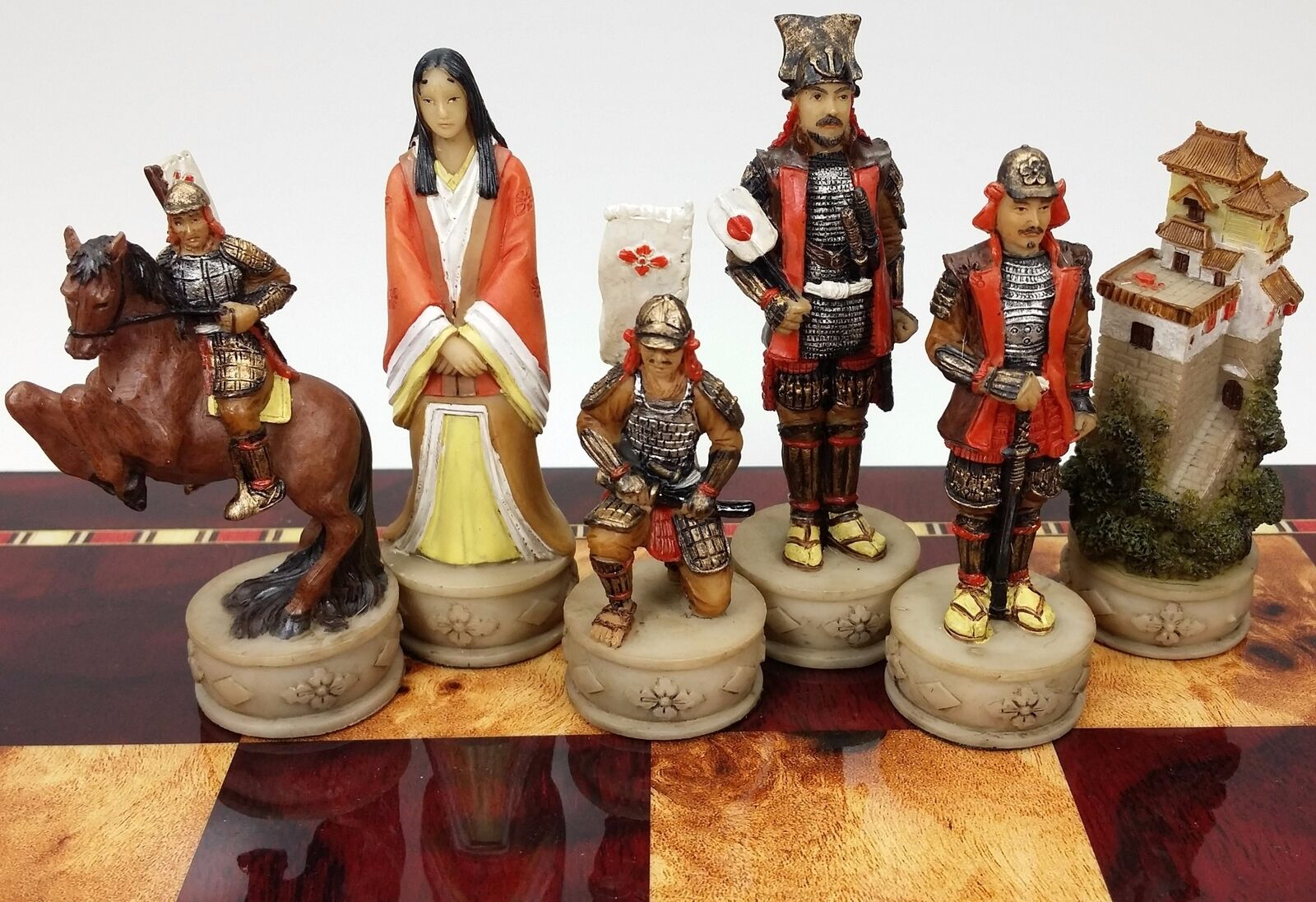 JAPANESE SAMURAI WARRIOR oriental set of chess men pieces - NO BOARD