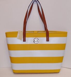 MICHAEL KORS JET SET TRAVEL STRIPE YELLOW SUN+WHITE SAFFIANO LEATHER ... 32bee5064bbdf