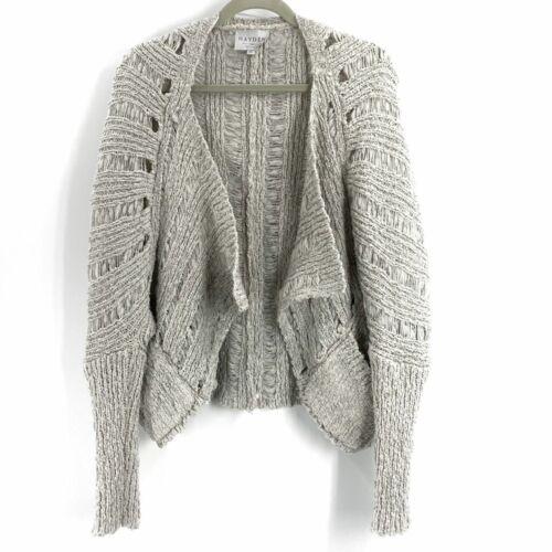 Hayden Cardigan Ina Open Hole Chunky Knit Gray