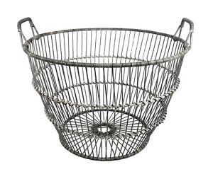 Large Vintage Primitive Metal Wire Egg Gathering Basket Handles