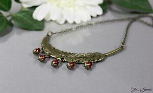 Glass-Jewels-Bronze-Halskette-Kette-Collier-Vintage-Feder-Statement-Perlen-N002