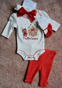 NWT-Starting-Out-Preemie-Newborn-Baby-Girl-My-1st-Christmas-Outfit-Gingerbread