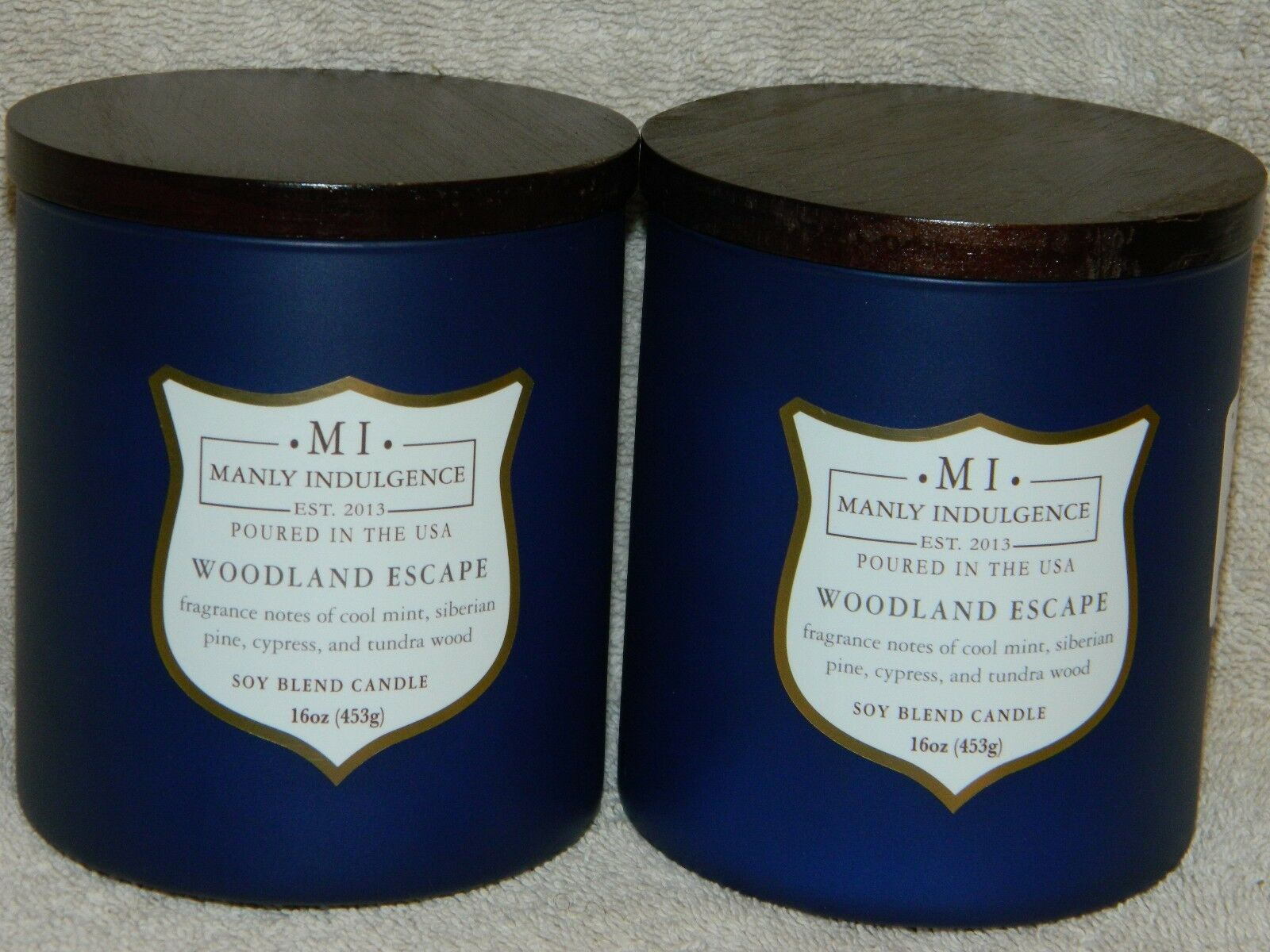 MANLY INDULGENCE - Woodland Escape -15 oz each Soy Blend Candles  NEW x 2