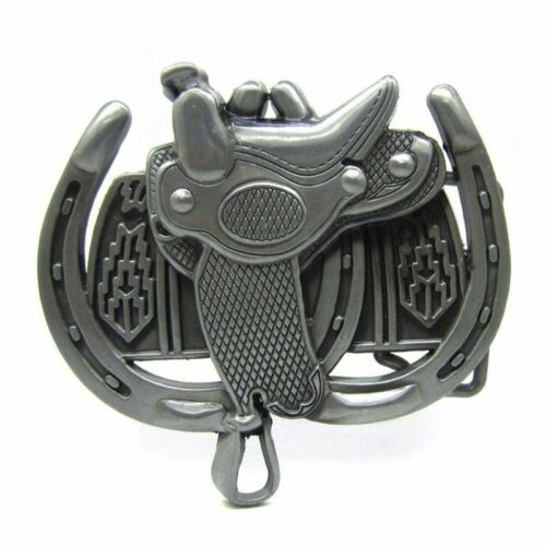 Charm Horse Saddle Belt Buckle Horseshoe Western Cowboy Rodeo Metal Men Silver
