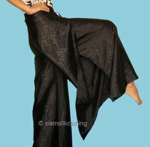 fd88cc3f9c0 Details about Womens Thai Fisherman Pants Silk Yoga Wrap Plus Size Hippie  Black Harem Trousers