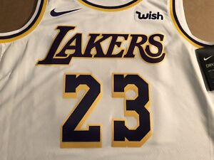 meet 6295f 7f1ef Details about LA Lakers LeBron James White Association Edition Swingman  Nike Jersey