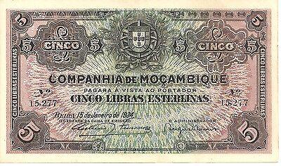 MOZAMBIQUE PORTUGAL 5 POUNDS 1934  R32. VF CONDITION. 4RW 28AGO