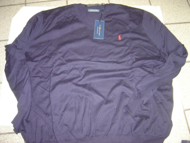 Polo Ralph Lauren Graphic Cotton Sweater  Navy Blue// Red MSRP $125