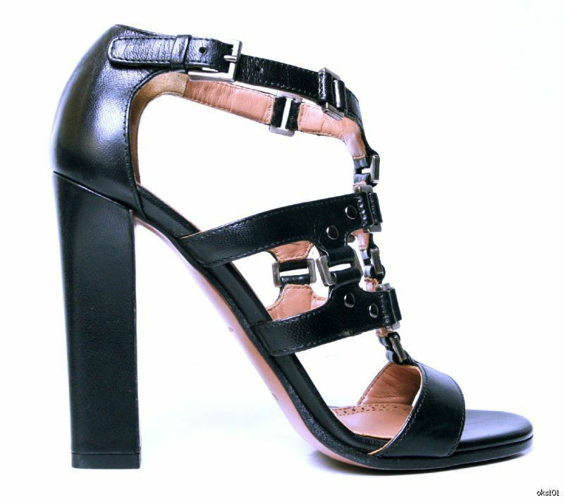 New    1675 ALAIA schwarz open-toe Tstrap STUDDED gladiator heels schuhe 37.5 7.5 HOT 265a07