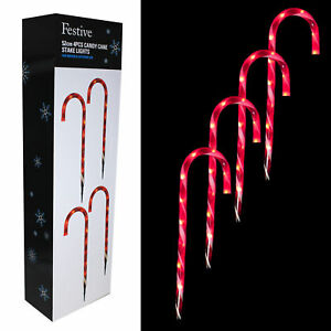 Festive-4-Piece-Red-amp-White-Candy-Cane-Path-Lights-with-LED-039-s