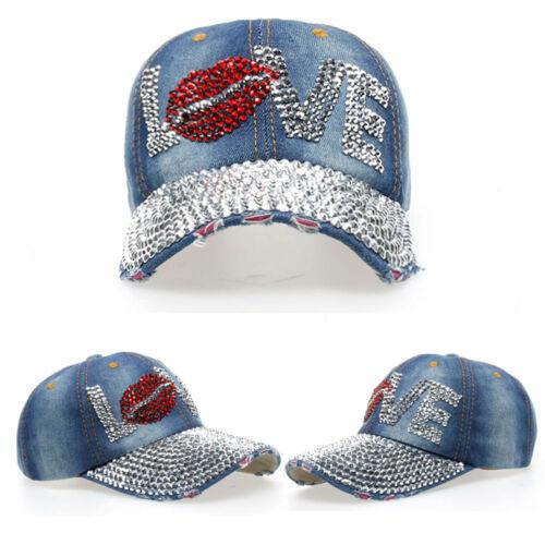 Chic Womens Rhinestone LOVE Studded Denim Hats Bling Baseball Caps Adjustable