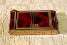 Vintage Brass & Red Enamel CIGARETTE CASE COMPACT MIRROR & LIPSTICK Art Deco