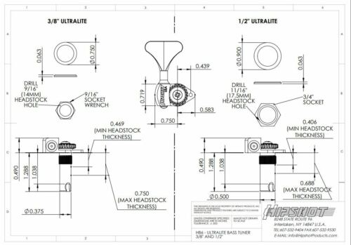 4 Inline Lefty//Treble Set NEW Hipshot Ultralite USA Tuner HB6C 1//2 Black