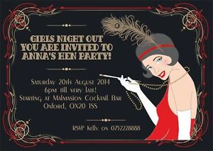 Details About 10 X Personalised Hen Engagement Birthday Party Invitations Great Gatsby Vintage