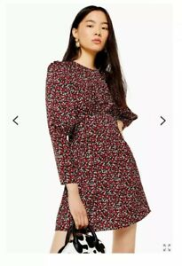 Topshop Austin Red Printed Long Sleeve Mini Dress Size 8 Ebay