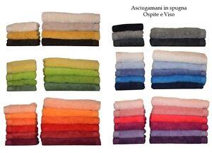 Asciugamano-viso-e-ospite-TOALLA-cotone-100-spugna-500-gr-mq-colori-assortiti