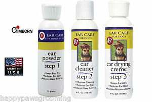Gimborn-R-7-EAR-Care-3-STEP-KIT-Control-ODOR-Powder-Cleaner-Creme-DOG-CAT-Puppy
