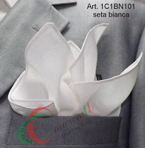 4f3c6aef13 Caricamento dell'immagine in corso Pochette-uomo -fazzoletto-da-taschino-pura-seta-bianca-