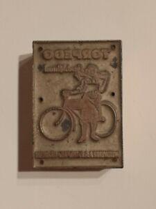 Vintage-German-Advertising-Wood-Metal-Ink-Stamp-Torpedo-Bicycle-Geschaftsrad