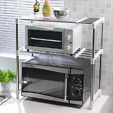 Space Saver Double Design Microwave Oven Stand Shelf Side Organizer Storage Rack