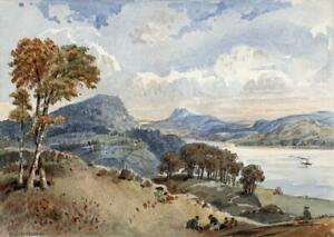 WINDERMERE-LANDSCAPE-LAKE-DISTRICT-Small-Watercolour-Painting-19TH-CENTURY